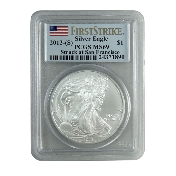 PCGS MS69 First Strike 2012 (S) American Silver Eagle Bullion Coin Obverse