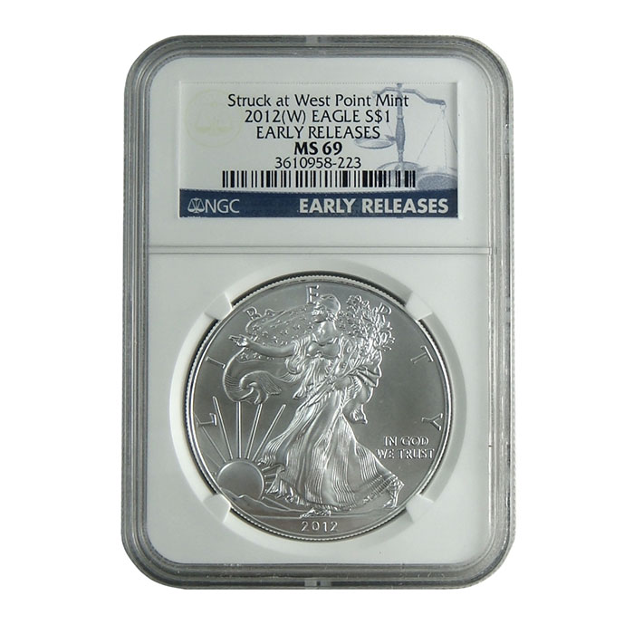 NGC MS69 Early Release 2012 (W) American Silver Eagle Bullion Coin Obverse