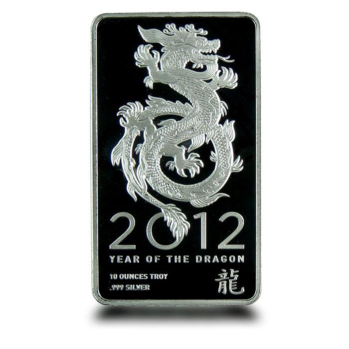 2012 10 oz Silver Dragon Bar