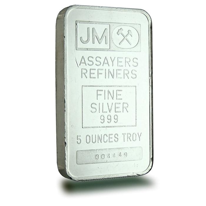 5 oz Johnson Matthey .999 Fine Silver Bars