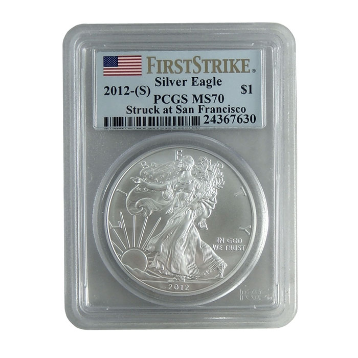 PCGS MS70 First Strike 2012 (S) American Silver Eagle Bullion Coin Obverse