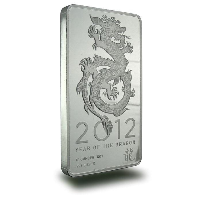 2012 10 oz Silver Dragon Bullion Bar Front