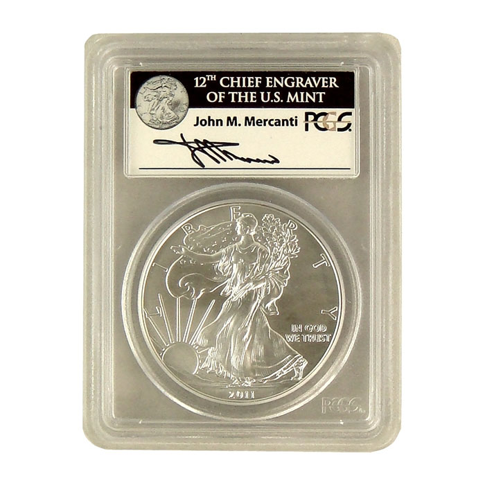 Mercanti Signed PCGS First Strike MS/PR-70 2011- 25th Anniversary Silver Eagle Burnished W Bullion Coin Obverse