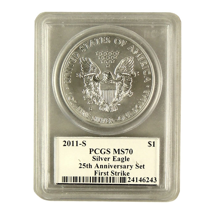 Mercanti Signed PCGS First Strike MS/PR-70 2011- 25th Anniversary Silver Eagle S Bullion Coin Reverse