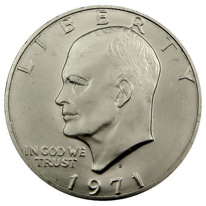 "1971 S 40% Silver Uncirculated ""Blue"" Eisenhower Ike Dollar Coin Obverse"