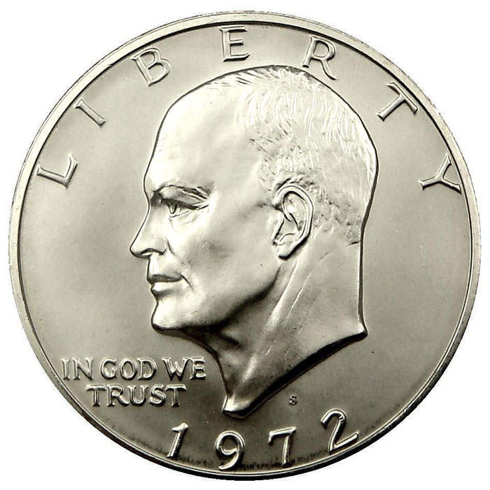 "1972 S 40% Silver Uncirculated ""Blue"" Eisenhower Ike Dollar Coin Obverse"