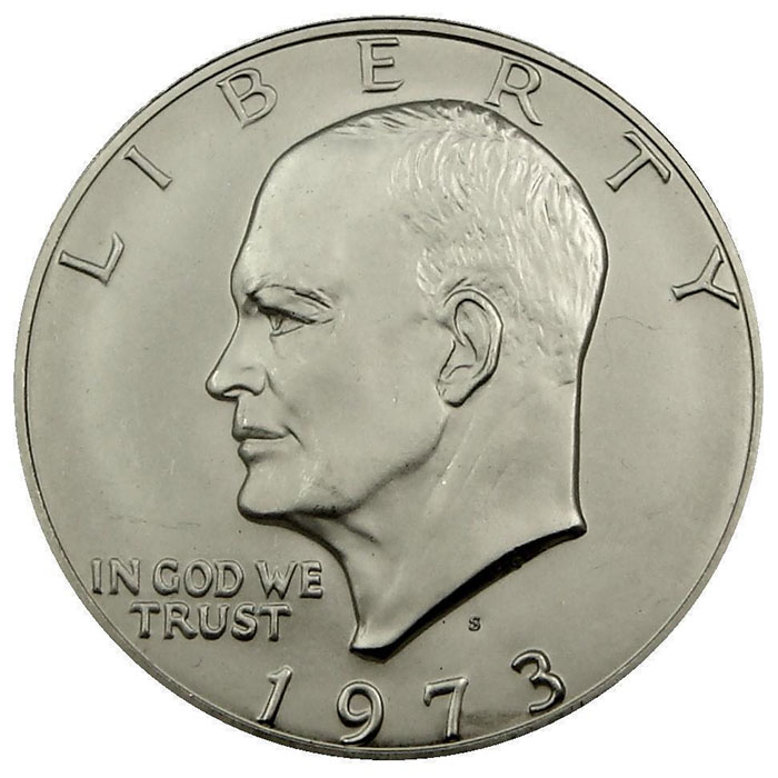 "1973 S 40% Silver Uncirculated ""Blue"" Eisenhower Ike Dollar Coin Obverse"