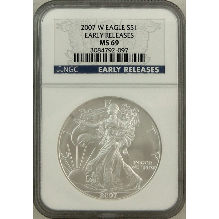 2007-W Burnished Silver Eagle | NGC MS69 Early Release -0