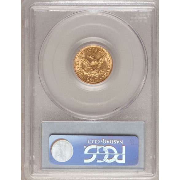 $2.50 Liberty PCGS MS62 Gold Quarter Eagle Coin Reverse
