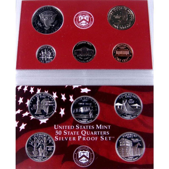 2001 S Silver US Proof Set Coins Reverse