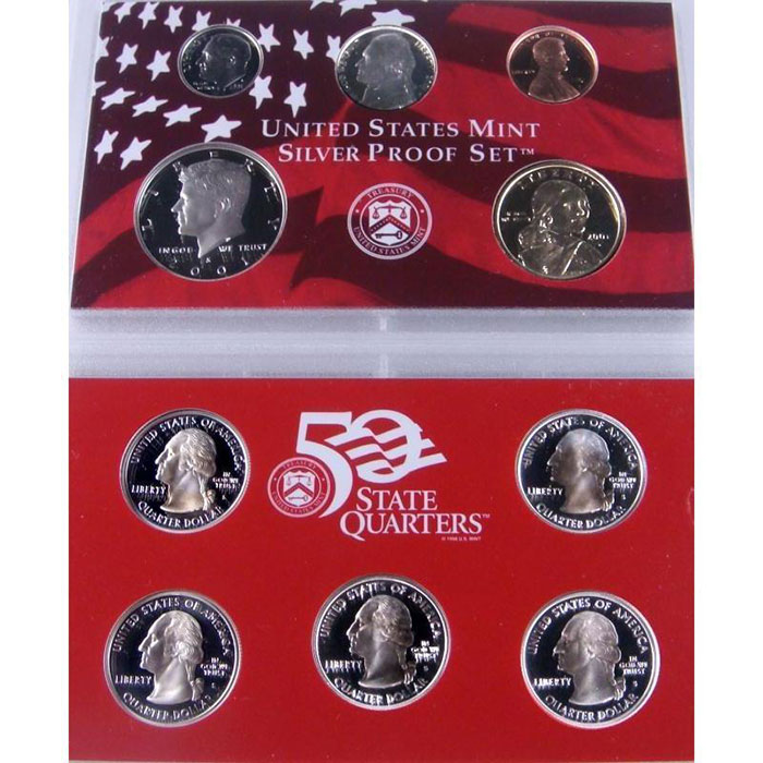 2001 S Silver US Proof Set Coins Obverse