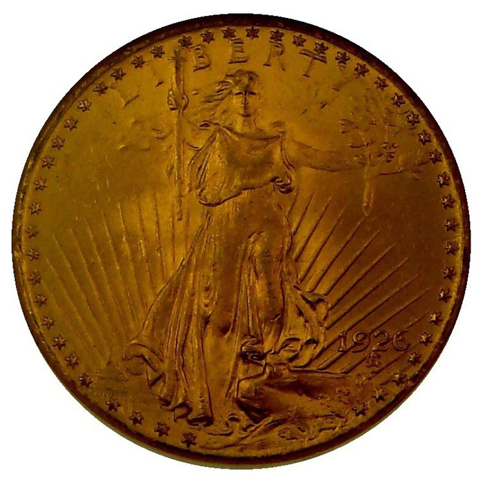 $20 Saint Gaudens NGC MS64 Gold Double Eagle Coin Obverse