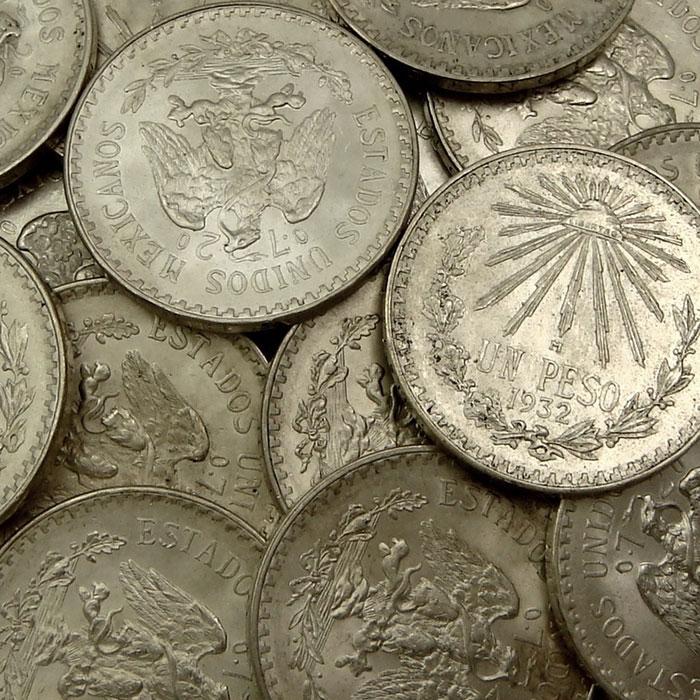 AU+ Mexico 1 Peso Silver Coins