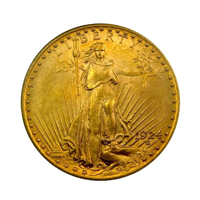 $20 Saint Gaudens NGC MS62 Gold Double Eagle Coin Obverse