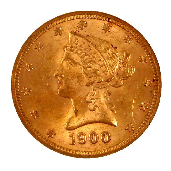 $10 Liberty NGC MS62 Gold Eagle Coin Obverse