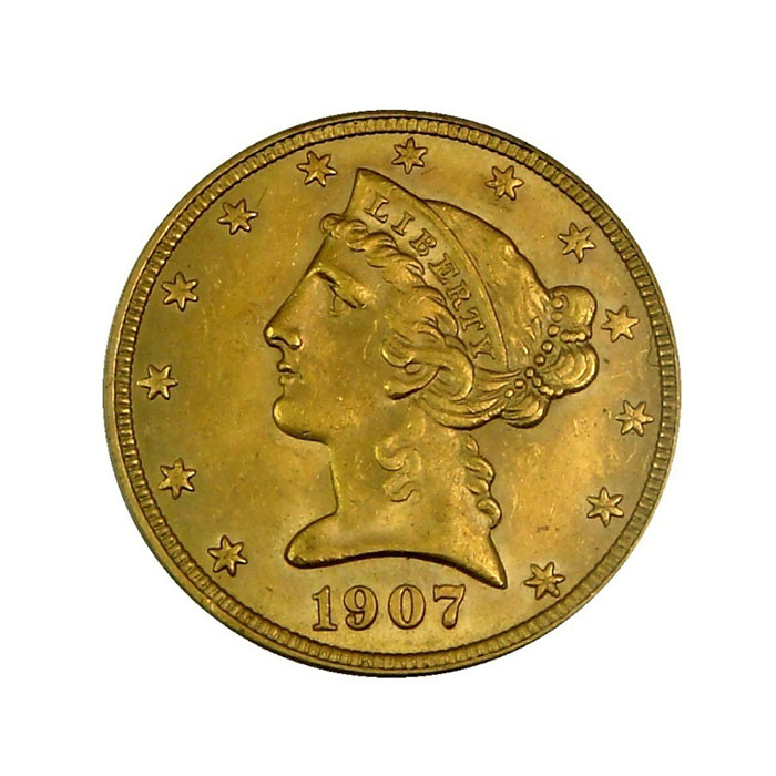 $5 Liberty PCGS MS63 Gold Half Eagle Coin Obverse