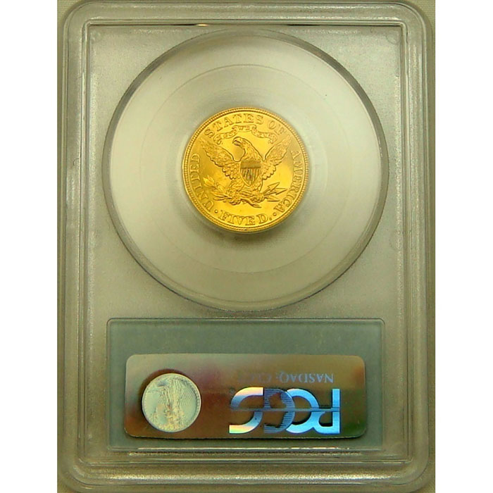 $5 Liberty PCGS MS64 Gold Half Eagle Coin Reverse