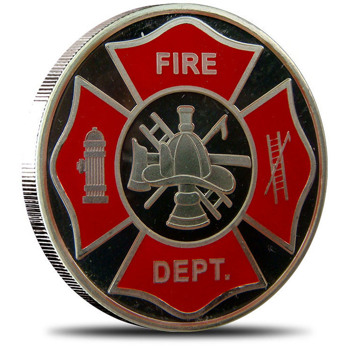 Fire Department Enameled Silver Round