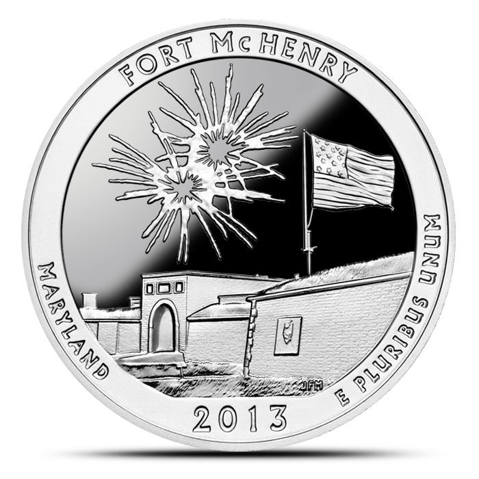 2013 Fort McHenry 5 oz Silver ATB Obverse