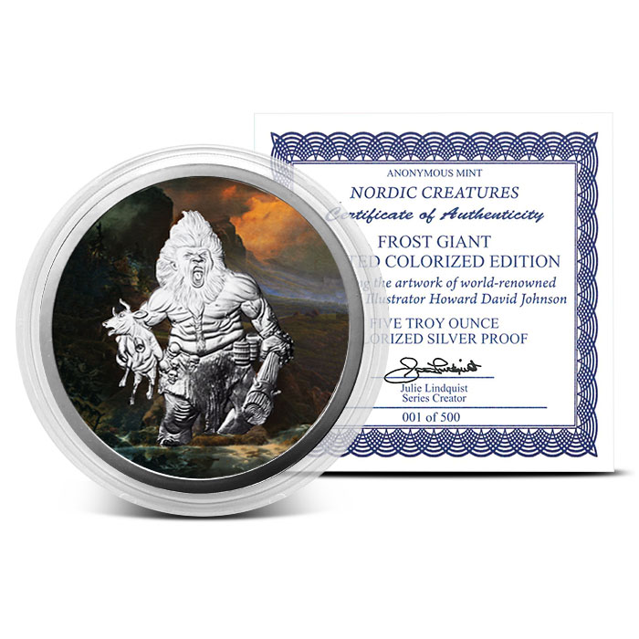 5 oz Silver Colorized Frost Giant with Certificate