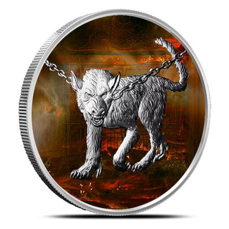 Garm 1 oz Silver Colorized   Nordic Creatures