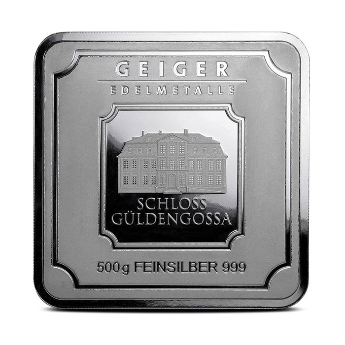 500 gram Silver Bar   Geiger Square Series