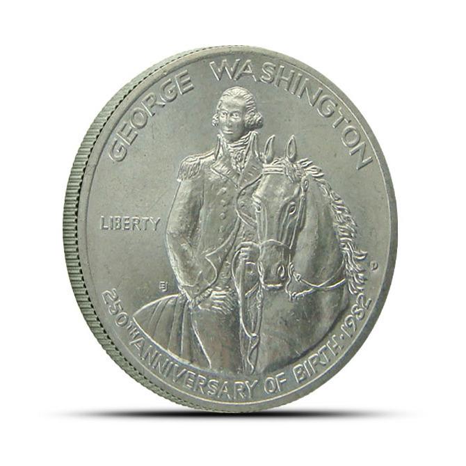 1982 George Washington Commemorative Silver Half Dollar BU Obverse
