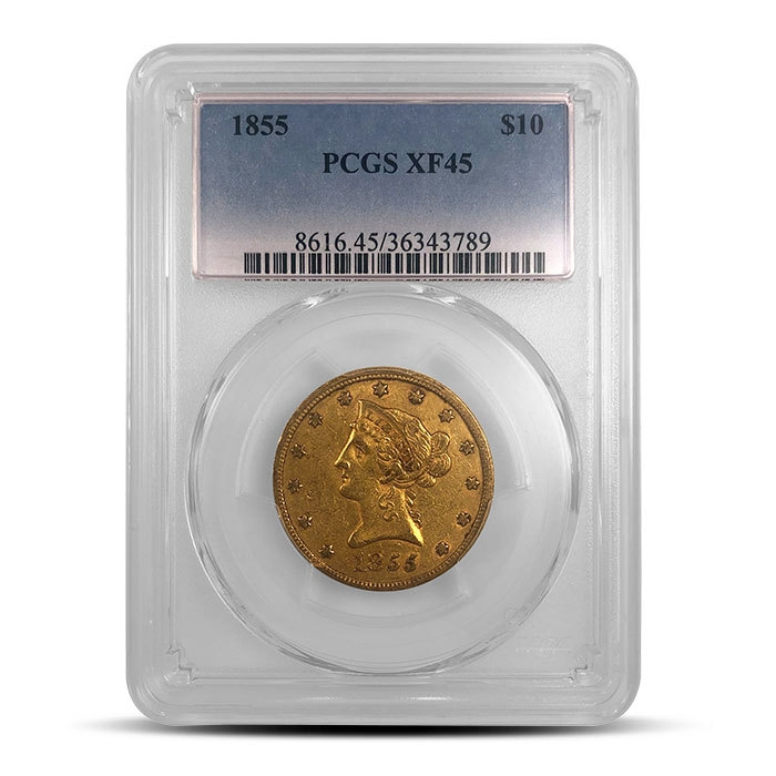 Gold Rush Era $10 Liberty Gold Coin | PCGS or NGC XF40+