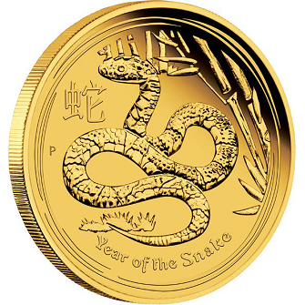 2013 Perth Mint Lunar Series 2 1 oz Lunar Year of the Snake Gold Bullion Coin