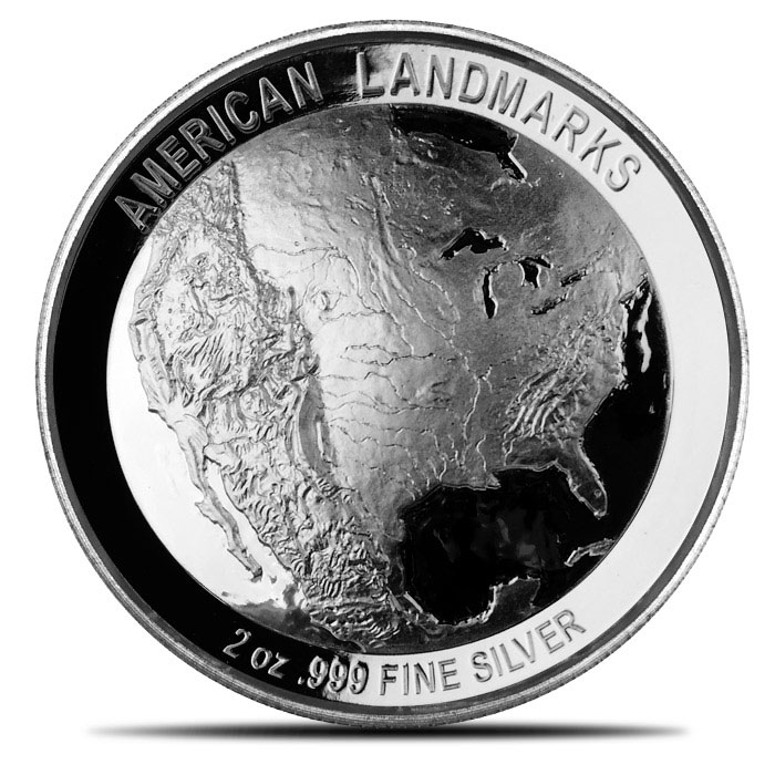 10 count American Landmarks Series | 2 oz Silver Grand Canyon Ultra High Relief Round