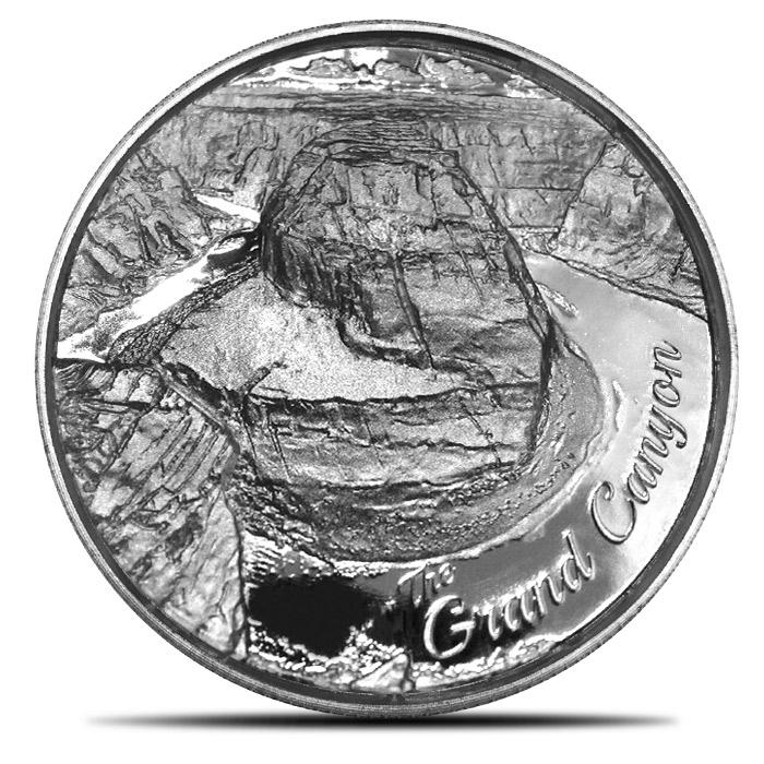 Elemetal Grand Canyon 2 oz Silver High Relief Round | American Landmarks Series