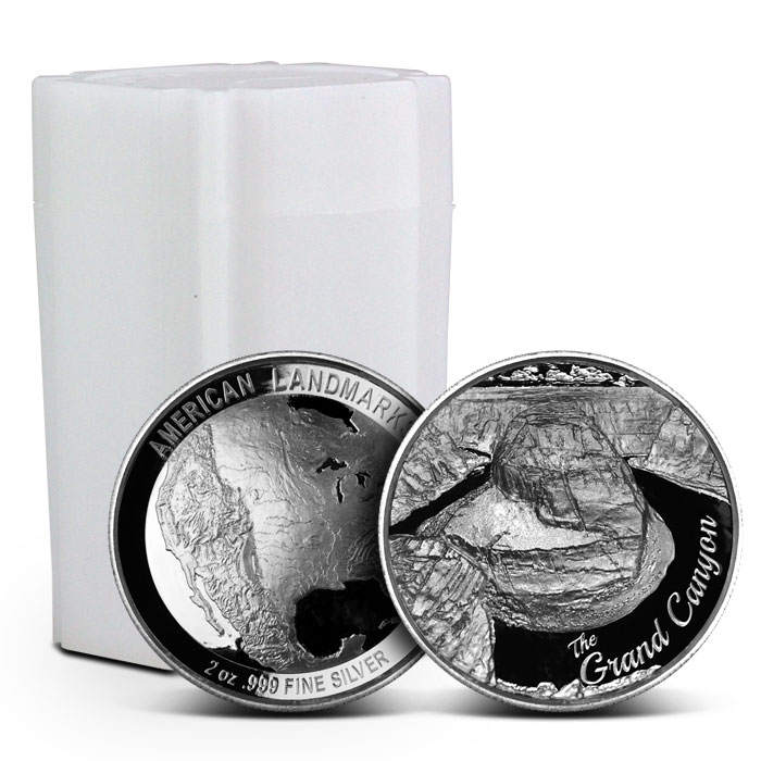10 count 2 oz Silver Grand Canyon Ultra High Relief Round | American Landmarks Series
