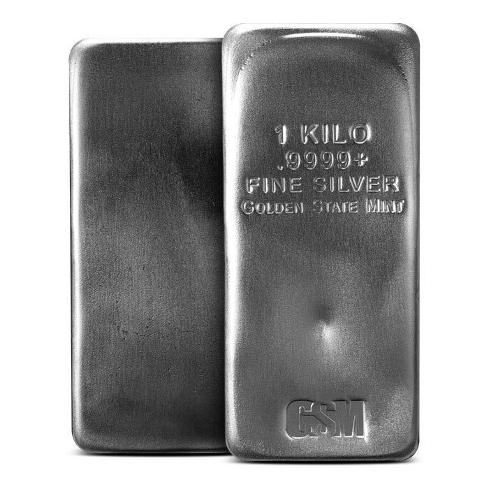 Golden State Mint Kilo Silver Bar Front & Back