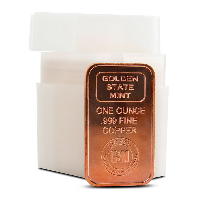 Golden State Mint 1 oz Copper Bar with Tube
