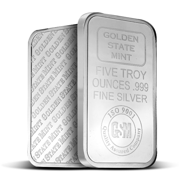 Golden State Mint 5 oz Silver Bars Front & Back