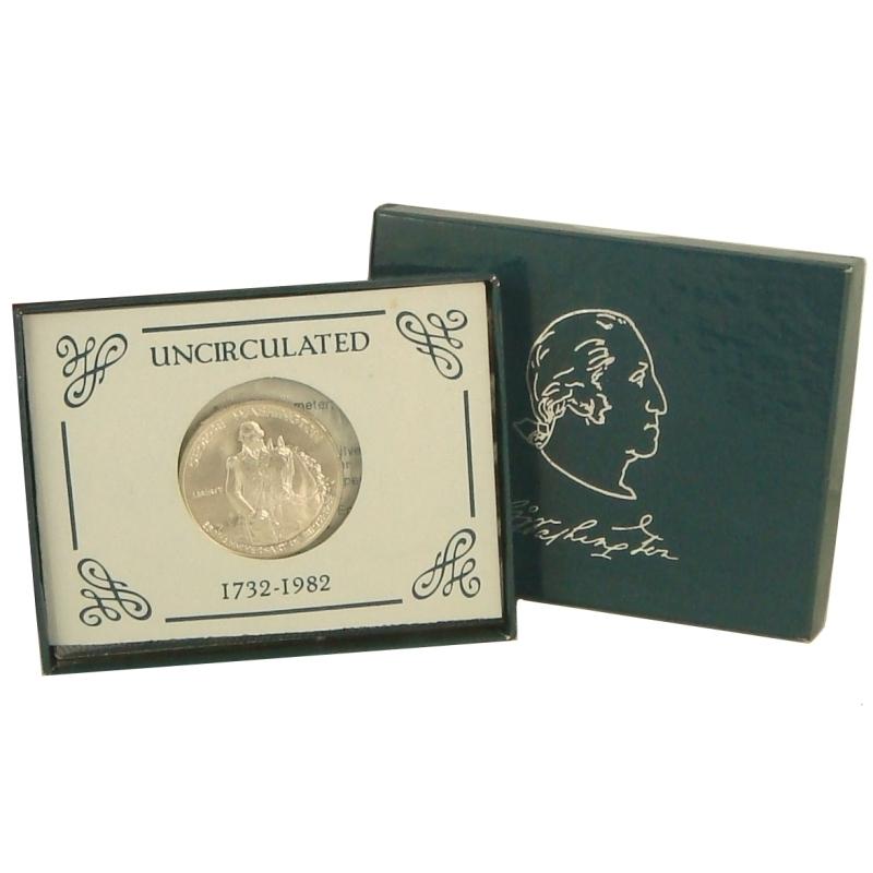 1982 George Washington Commemorative Silver Half Dollar Unc Box & Certificate