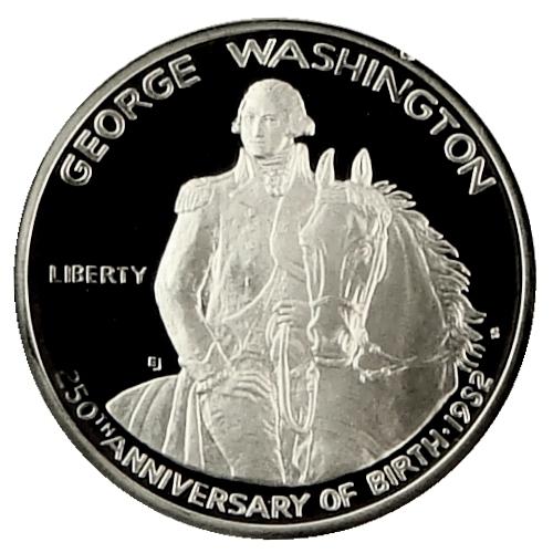 1982 George Washington Commemorative Silver Half Dollar Proof Obverse
