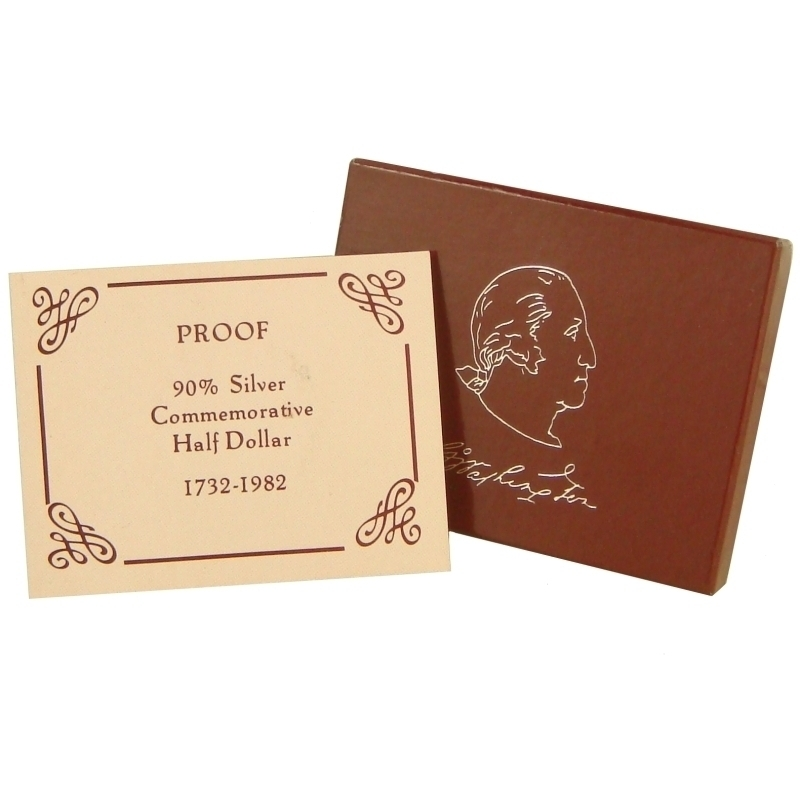 1982 George Washington Commemorative Silver Half Dollar Proof Box & Certificate