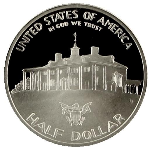1982 George Washington Commemorative Silver Half Dollar Proof Reverse