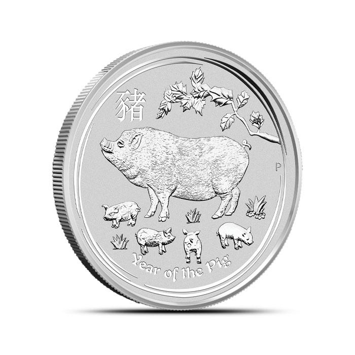 2019 1/2 oz Silver Lunar Pig Reverse