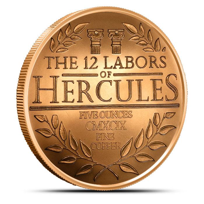 5 oz Copper Hercules   The 12 Labors of Hercules Reverse