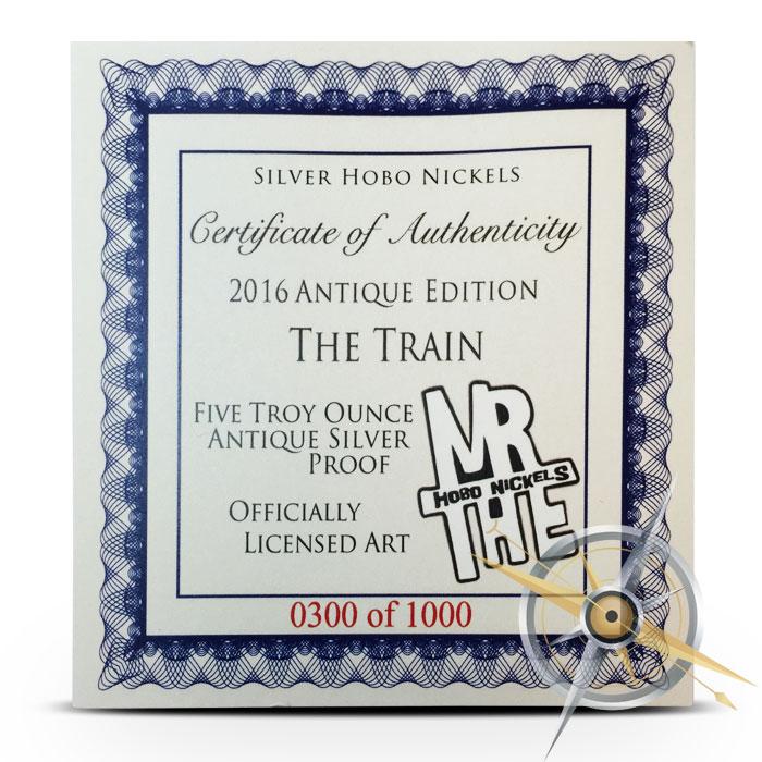 5 oz Hobo Nickel Certificate