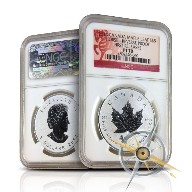 2014 Canadian Silver Maple Leaf Horse Reverse Proof | NGC PF70