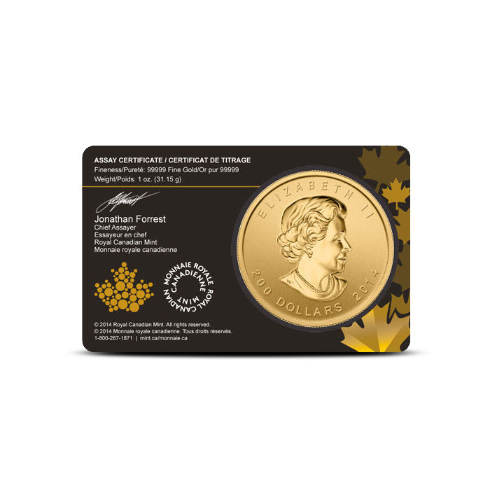 2014 1 oz Gold Howling Wolf | Call of the Wild Assay Card Reverse