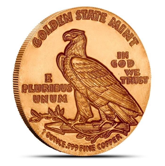 1 oz Copper Round | Incuse Indian Reverse