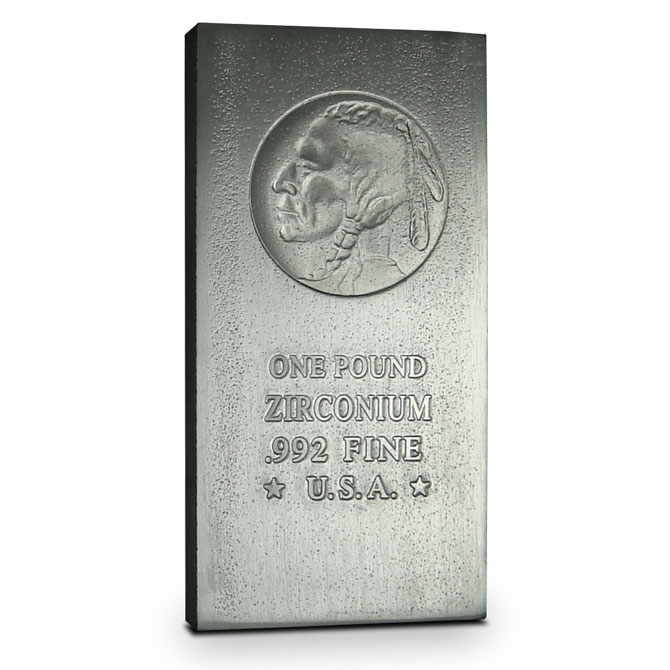 Indian Head 1 Pound Zirconium Bullion Bars | Buffalo Nickel Design