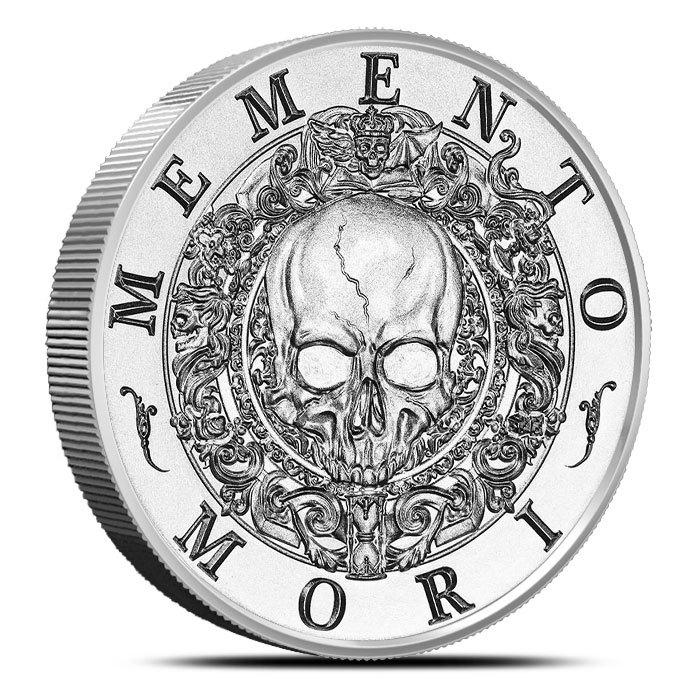 2 oz Silver Round   Memento Mori Front