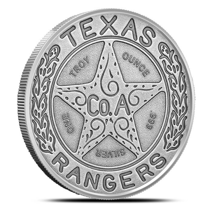 2 oz Silver Round |Antiqued Texas Ranger Badge Front