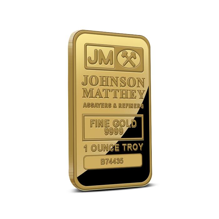 Johnson Matthey 1 oz .9999 Fine Gold Bar Front
