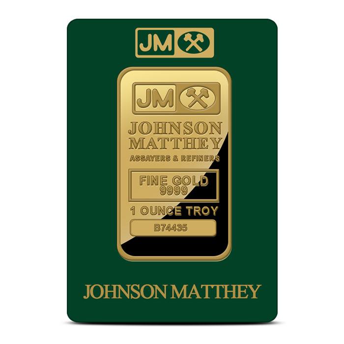 Johnson Matthey 1 oz .9999 Fine Gold Bar In Card Front